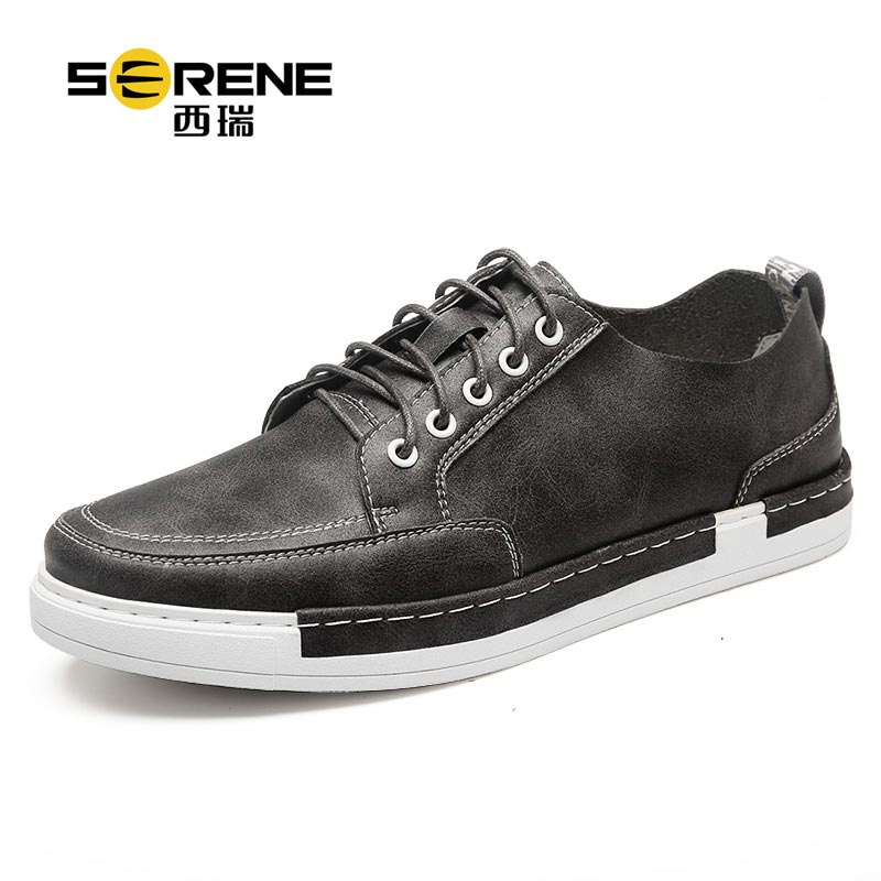 Spring Autumn Casual Leather Shoes 2018 New Split Leather Rubber Sole Breathable Shoes For Men Platform Shoes Lace-up Footwear