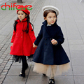 2016 New Fashion Spring Autumn Girls Outwear Clothes Warm Turtleneck Solid Covered Buttons Long Sleeve Coats Cute Baby Girls