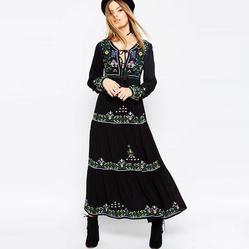 Tzigane Robe V À Uni De Dame Longue Broderie Florale Ethnique Col Robes Noir Lacets Boho Hippie Maxi En Chic Soirée Manche B7aqxwX