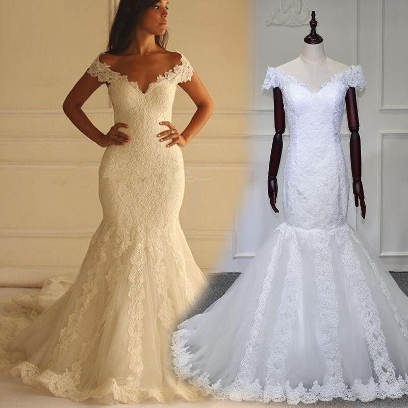 Vintage Mermaid Wedding Dress 2019 Applique Lace Wedding Gowns Vestido de Noiva Sereia Renda China Bride