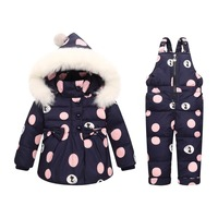 XYF816 Winter Baby Boy Girl 0 4Years Warm White Duck Down Jacket Jumpsuit Child Print Thicken Down Jacket Set Kids Coat+Bib pant