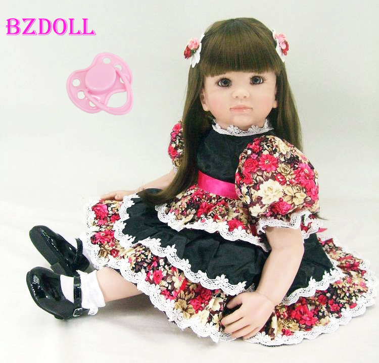 "Lifelike 24"" Reborn Toddler Girl Toy 60cm Vinyl Princess Baby Doll With Beautiful Dress Birthday Gift Girls Brinquedos-in Dolls from Toys & Hobbies    1"