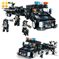 WOMA Police Series SWAT Corps C0535 738 pcs Boat Car Figures Building Block Sets Enlighten Educational DIY Bricks Kids Toys