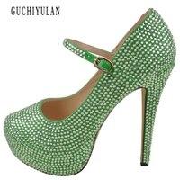 Свадебные туфли на платформе 14 см с кристаллами, свадебные туфли на высоком каблуке, женские Серебристые туфли лодочки со стразами, пикантн