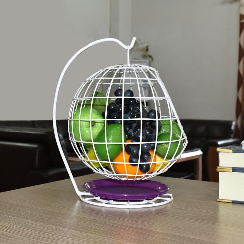 Household Swing Basket Shape Fruit Plate Countertop Metal Fruit Basket Black Creative Style Tray Stand Storage Basket