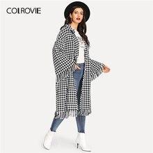 COLROVIE 春のファッションのオーバーコート女性の上着 ショール襟千鳥格子ベルスリーブフリンジカジュアルロングコートの女性 2019