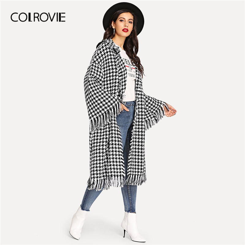 COLROVIE Shawl Collar Houndstooth Bell Sleeve Fringe Casual Long Coat Women 2019 Spring Fashion Overcoat Office Lady Outerwear