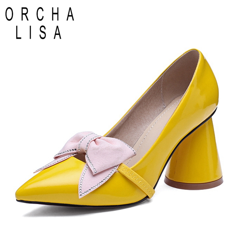 ORCHA LISA Big Size 43 Women Pumps Thick High Heels Bowknot Wedding Party Footwear Shoe Ladies Pointed Toe Three Ways Of Wearing