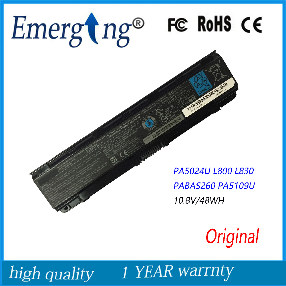 10.8V 48Wh New  Original  Laptop Battery for Toshiba Satellite C855D C55 C50 PA5024U PA5109 L800 L830 PA5024-1BRS PABAS26010.8V 48Wh New  Original  Laptop Battery for Toshiba Satellite C855D C55 C50 PA5024U PA5109 L800 L830 PA5024-1BRS PABAS260