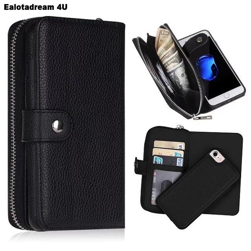 New for iPhone 5 5C 5S SE 6 7 8 X Wallet PU Zipper Bag Purse Case for iPhone 6s 6 Plus 7 Plus 8 Plus X Wallet Cover
