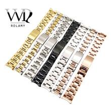 Rolamy 13 17 19 20mm Uhr Band Strap Großhandel 316L Edelstahl Ton Rose Gold Silber Armband Oyster Armband für Dayjust