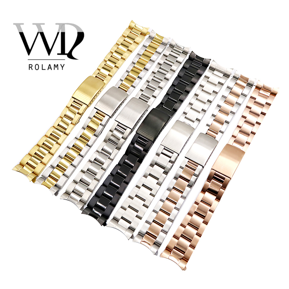 Rolamy 13 17 19 20mm Watch Band Strap Wholesale 316L Stainless Steel Tone Rose Gold Silver Watchband Oyster Bracelet For Dayjust