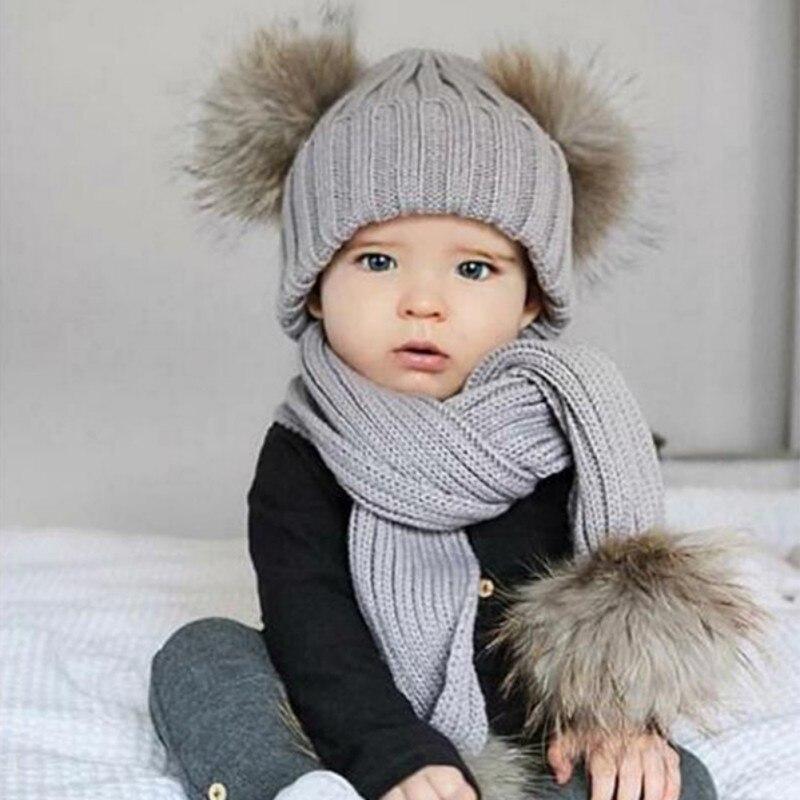 Children Baby Autumn Winter Wool Hat Scarf Sets Real Fur Fox Fur Caps Kids Warm Knit Cap Beanie Hats Girls Boys