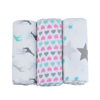 EGMAO Frosted Bagged Organic 100% Cotton Large Muslin Swaddle Blankets Baby Newborn Gift Sets 47*47 inch 3Pcs/Pack Blanket Cover
