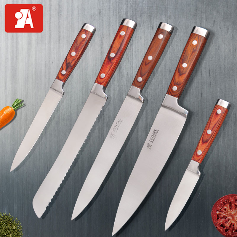 A BRAND Kitchen Knives Chef Slicing Paring Utility Knife 8 5 3.5 Inch Color Wood Handle Stainless Steel Cooking Tool