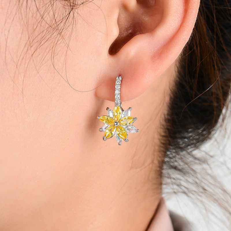 H:HYDE Cute Romantic Lovely Clear Stone Flower Shape Convenient Simple Stud Earrings Copper Cubic Zirconia For Women Party