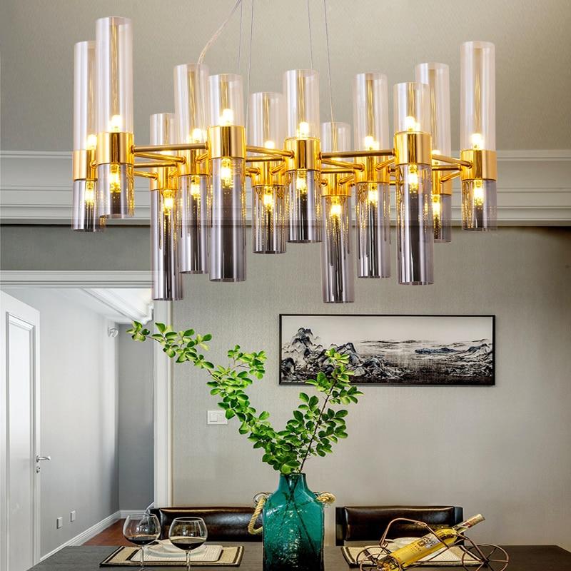 Analytisch Nordic Kreative Bamboom G4 Led Kronleuchter Platte Grau Glas Lampenschirme Anhänger Kronleuchter Luminaria Lustre Kronleuchter Beleuchtung äSthetisches Aussehen