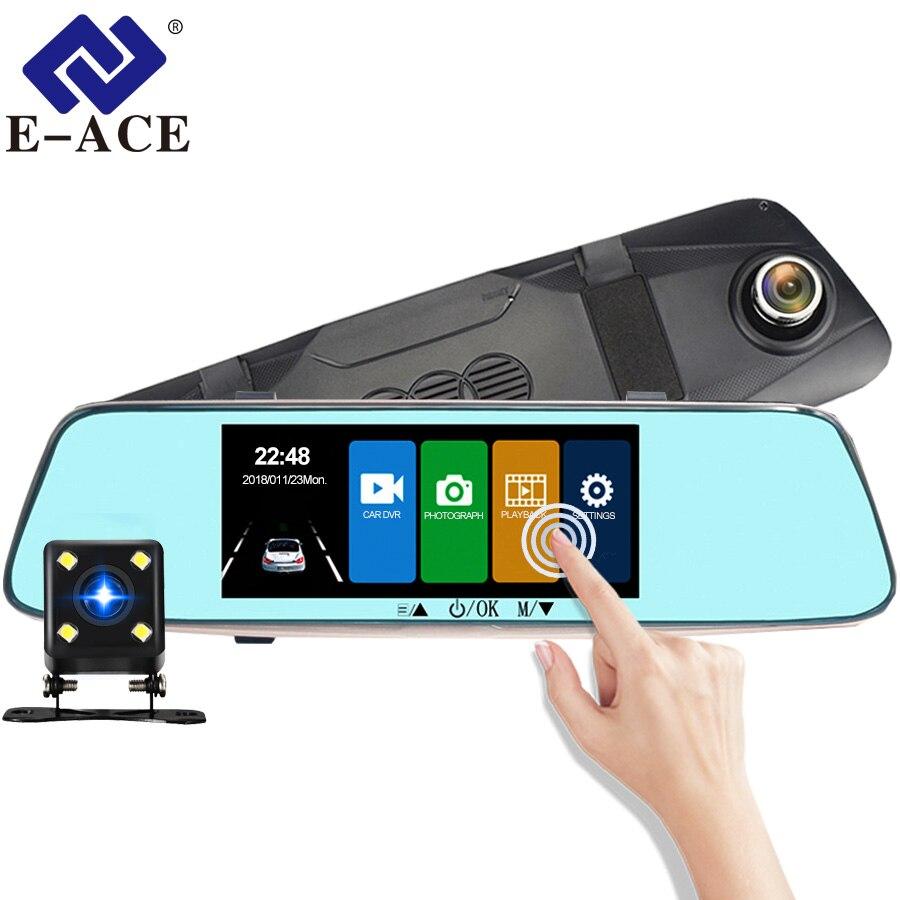 E-ACE Voiture DVR 7.0 pouce Tactile Dash Cam Miroir Enregistreur Vidéo FHD 1080 p Caméra Double Lentille avec Vue Arrière caméra Auto Registrator