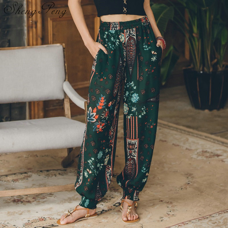 2018 chic style boho hippie   pants   women ethnic   pants   summer holiday beach vintage   wide     leg   long tribe trousers CC412