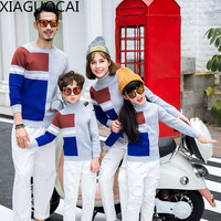 XiaGuoCai 2017 Family Matching Outfits Father Mother And Children Baby Sweater Warm Couples Clothing Dad Mom