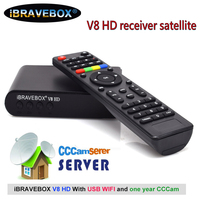 iBRAVEBOX V8 HD receiver satellite 1080P usb wifi support 7 Clines Spain cccam server for 1 year PowerVu,DRE&Biss key receptor