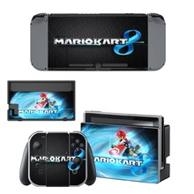 Mario Kart 8 Deluxe Decal Vinyl Skin Protector Sticker for Nintendo Switch NS Console +Controller + Stand Holder Protective Film