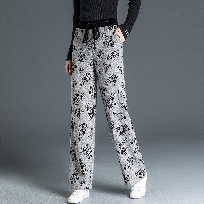 De Moda Con Lana Sweatpants Warmed Para Mujer Cordón Estampado 2018 Mezcla Alta Shuchan Gris Pantalones Invierno Cintura txfwCqOt8