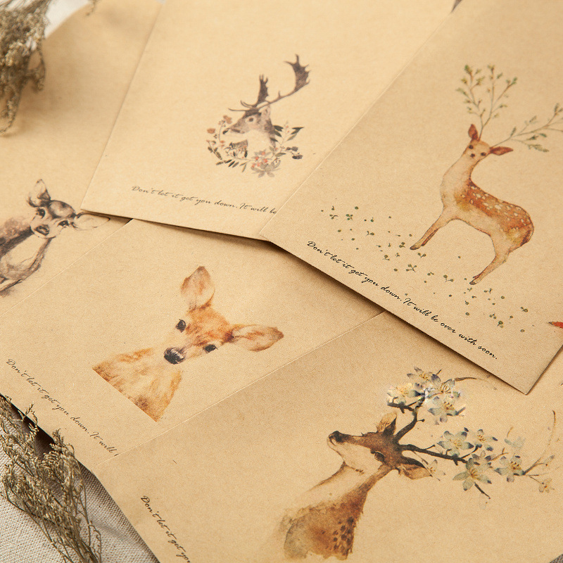 Wallet Envelope 20 Pieces Deer Paper Envelope Designs Cute Mini Envelopes Vintage European Style For Card Scrapbooking Gift