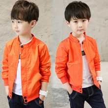 Hot Baby Boy Fashion Coat 2019 Spring and Summer New kids sets Black Orange Round Collar Casual Jacket 4-12 Year