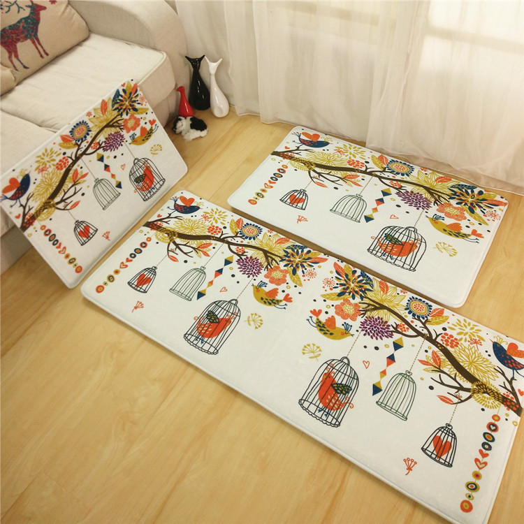 Clear Flowers Plants Long Printing Kitchen Floor Mats Small Long Carpet  Water Absorbent Anti Slip Runner Rug For Living Room