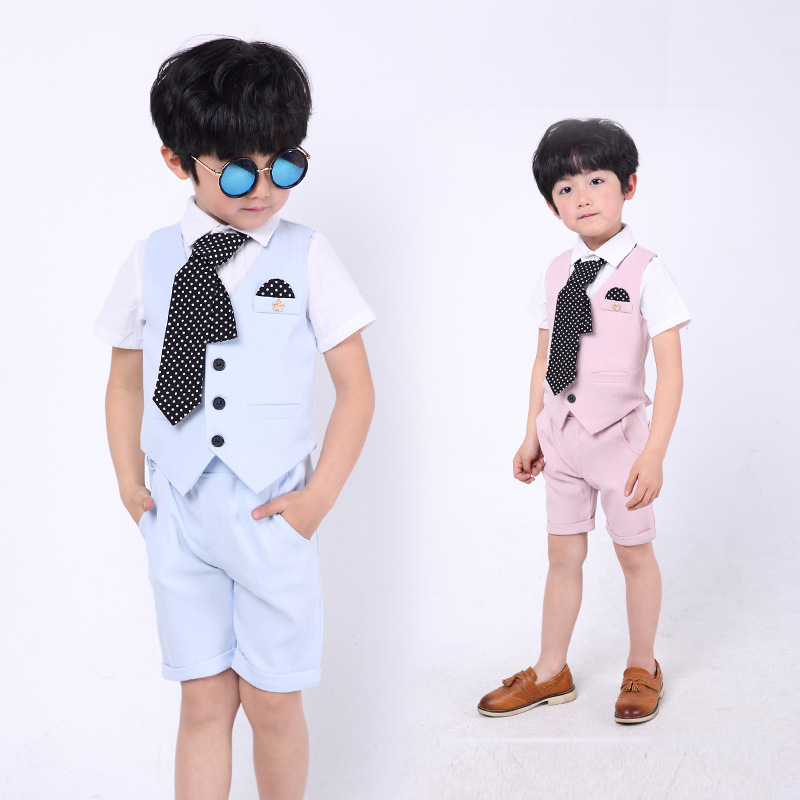Boys Gentlemen Blazer Vest Shorts 3Pcs Suit Set Wedding Brand England Kids Short Sleeve Gentlemen Blazer Clothing H186