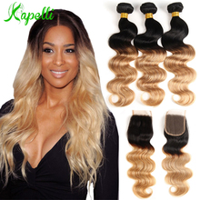 Brazilian Body Wave Ombre Bundles With Closure Blonde Hair Weave 3 Lace Remy