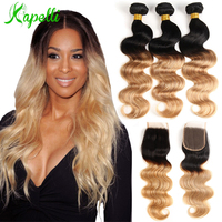 Brazilian Body Wave Ombre Bundles With Closure Blonde Brazilian Hair Weave Bundles 3 Ombre Hair Bundles With Lace Closure Remy