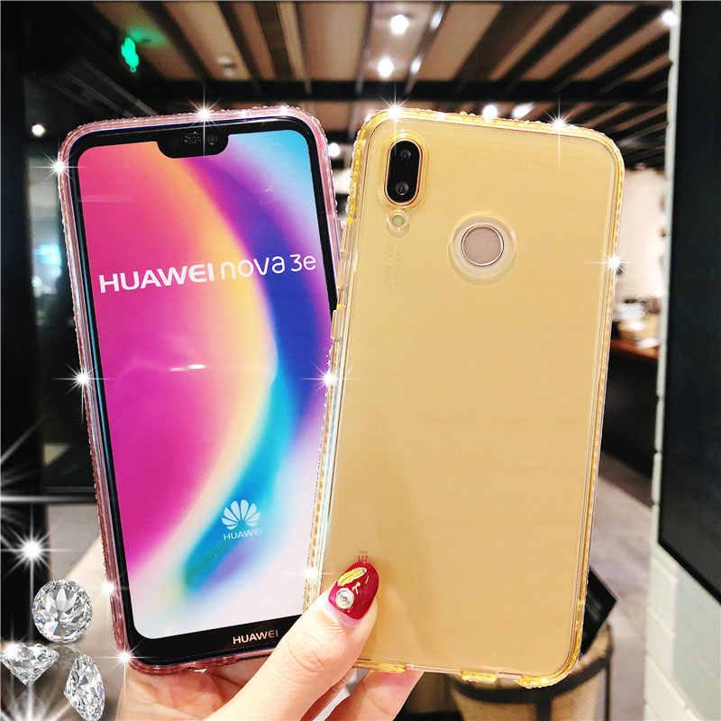 Kim cương Long Lanh TPU Mềm Điện Thoại Trường Hợp Đối Với Huawei P20 Pro Người Bạn Đời 20 10 Lite Nova 3 Y6 Thủ Y9 2018 honor 8X9 Fundas Trường Hợp Silicone