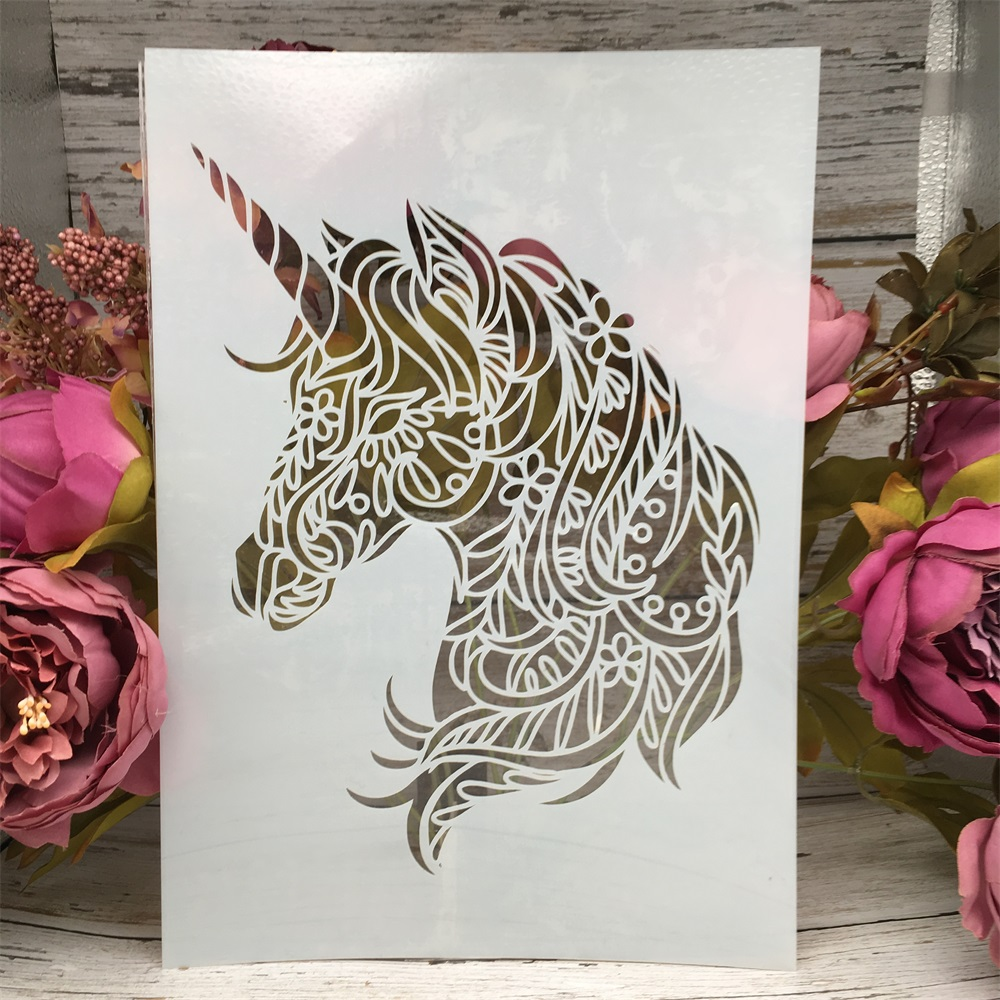 A4 29cm Unicorn DIY Layering Stencils Wall Painting Scrapbook Coloring Embossing Album Decorative Paper Card Template