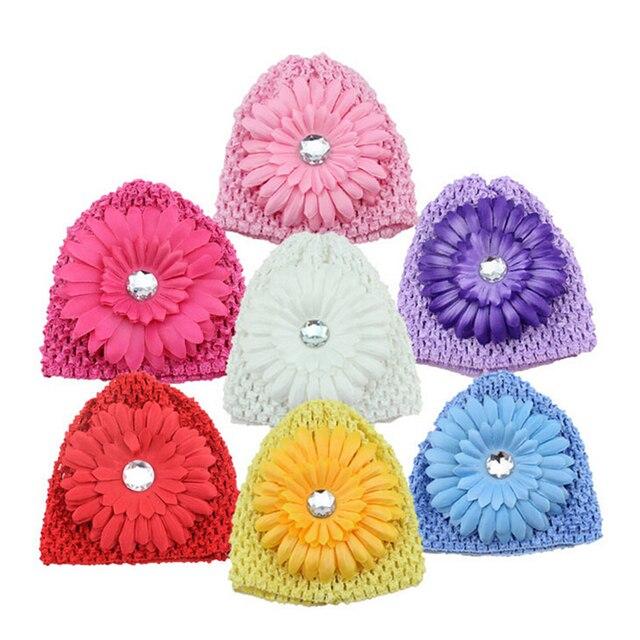 de167ce60d7 Winter Warm Cute Baby Girl Infant Toddler Hand Crochet Beanie knitted Hat + Daisy  Flower Clip