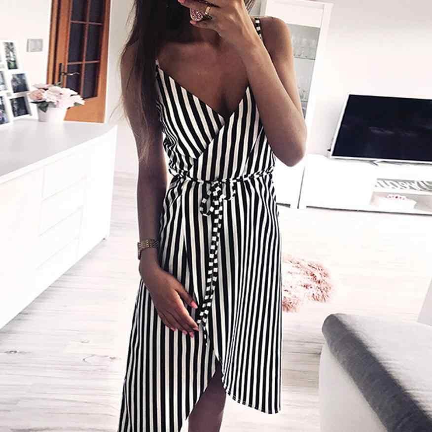 KANCOOLD ドレス女性ストライプ印刷ノースリーブオフショルダードレスイブニングパーティーベスト帝国サッシドレス女性 2018AUG1