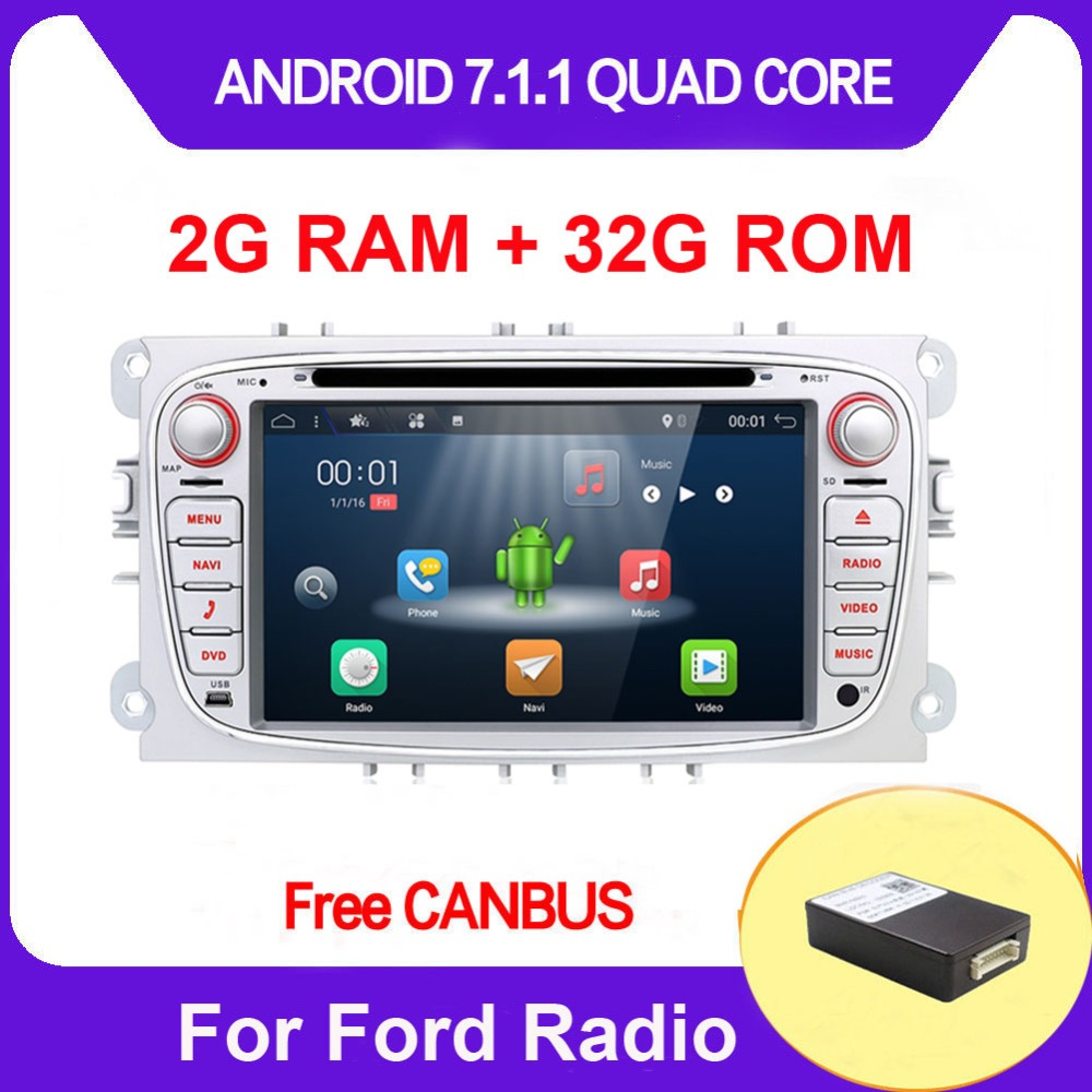2G+32G ROM 2 din For Ford Focus Mondeo Galaxy Android 7.1 Quad Core Car DVD Player GPS Navi Audio Radio Stereo Head Unit DAB,4G