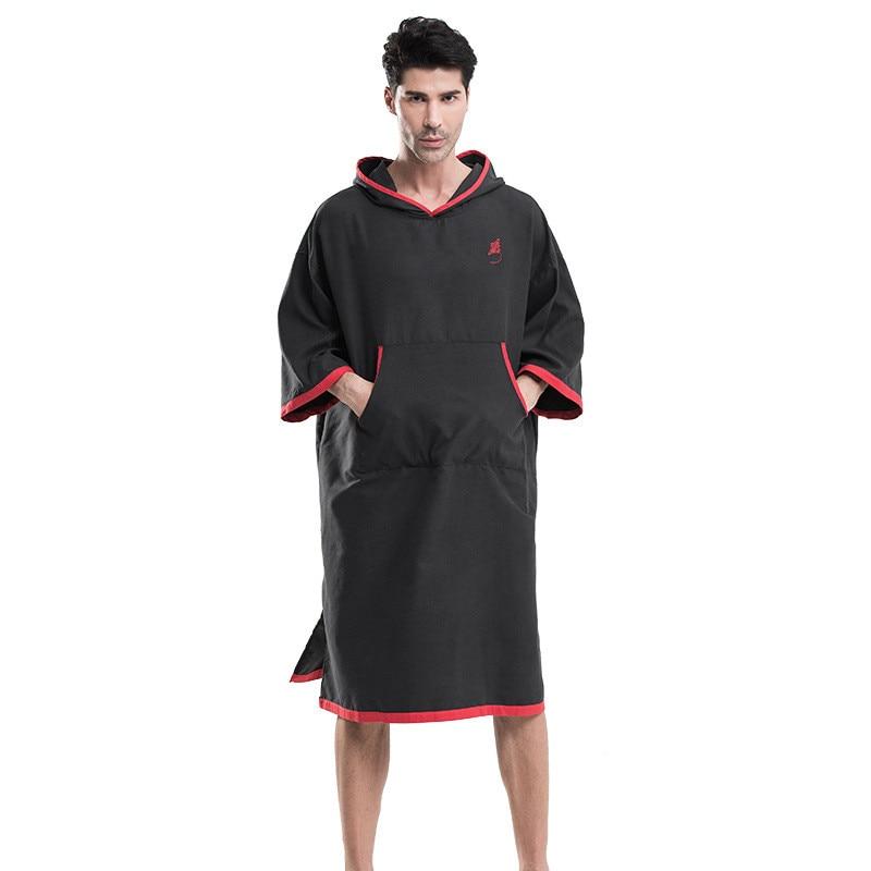 Black LOGO Embroidery Changing Robe Bath Towel Outdoor Adult Hooded Beach Towel Poncho Bathrobe Towels Women Man Bathrobe LST