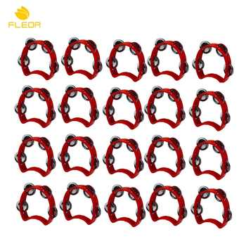 FLEOR 20pcs Plastic Half Moon Held Tambourine Musical Instrument Red Tambourine Percussion for Kids Children - DISCOUNT ITEM  45% OFF Sports & Entertainment