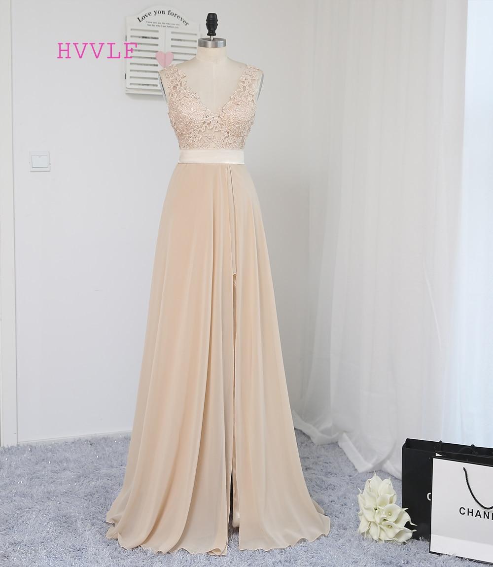 HVVLF Champagne 2019 Prom Dresses A-line scollo a V in pizzo in chiffon fessura sexy backless lungo abito di promenade abiti da sera abito da sera