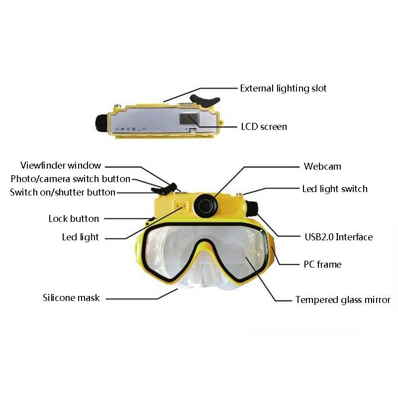 Adultes étanche HD 720p numérique grand Angle caméra vidéo caméscopes masque de plongée avec ceinture réglable lumière LED utilisation de natation - 5