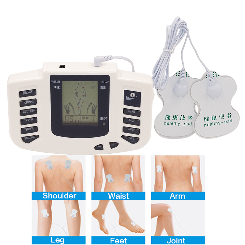 Beurha Electrical Muscle Stimulator Russian button Therapy Massager Pulse Tens Acupuncture Full Body Massage Relax Care 16 pads electric massager electrical stimulator full body relax muscle therapy massager dual output massage pulse tens acupuncture