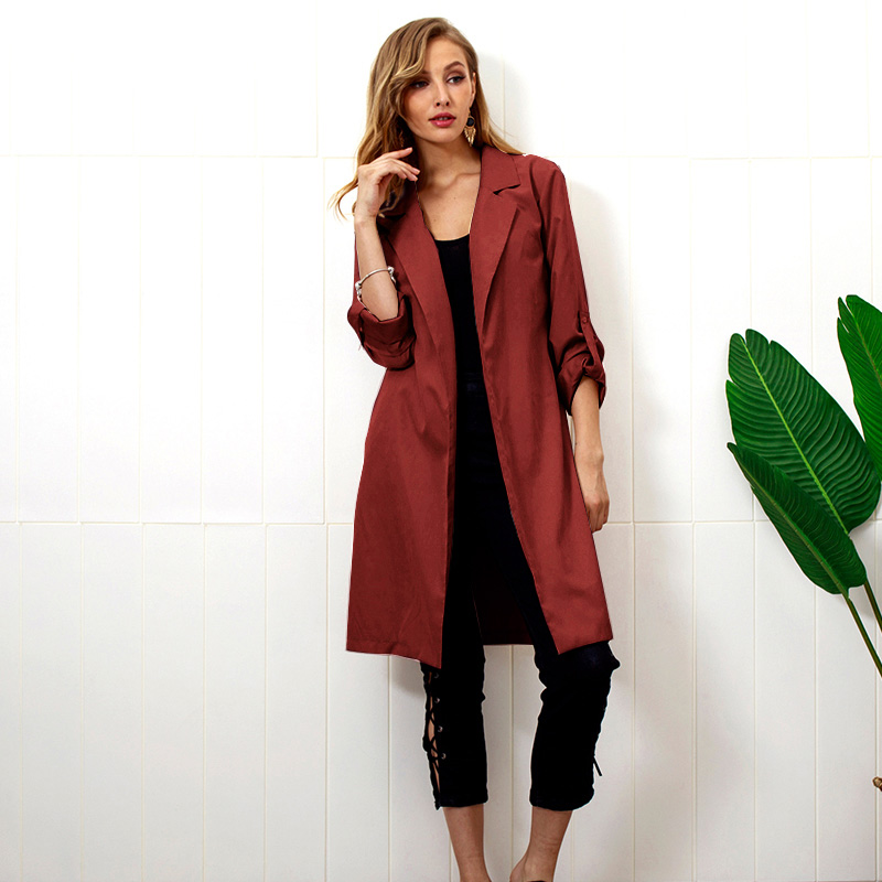 Elegant Women Winter Autumn Coat Long Sleeves Waist Belt Slim Solid Warm Casual Long Outerwear Cardigan   Trench   Coat Female