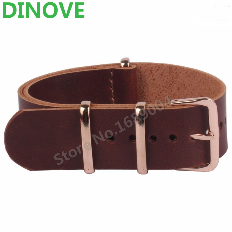 DINOVE 18 20 mm 22mm NATO Brown Resin PU Leather Watchbands Men Women Casual Watches Straps Leather  Wristwatch Band 18mm Belts