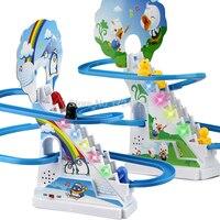 Penguin Or Ducks Climb Stairs Track Children S Classic Cartoon Electric Music Light Birthday Gift Toys