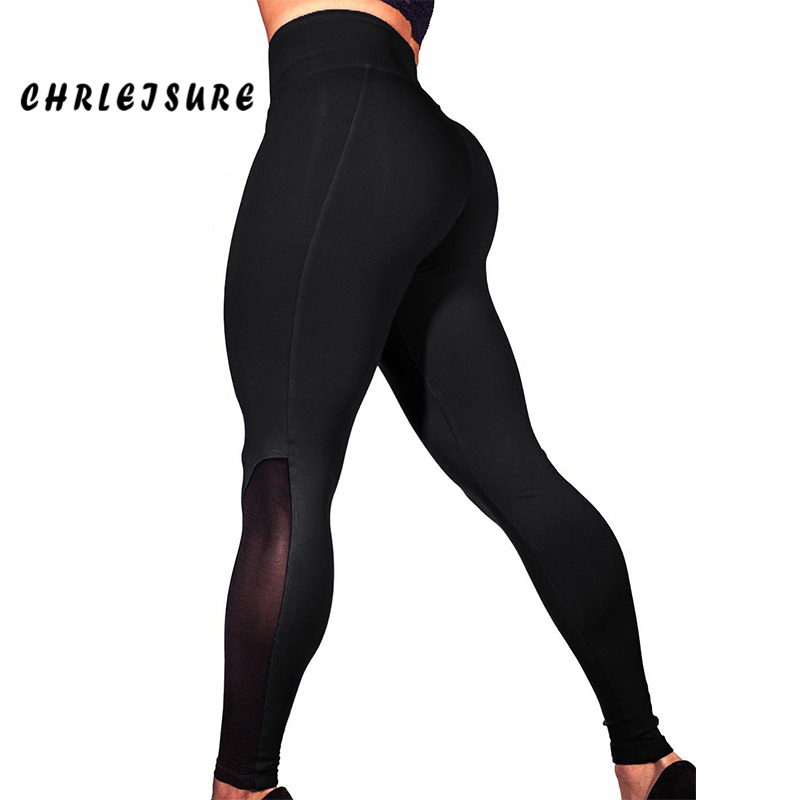 CHRLEISURE Mesh Push Up   Leggings   Women 2018 Spring High Waist Europe and the United States Patchwork Fitness Lady's   Legging