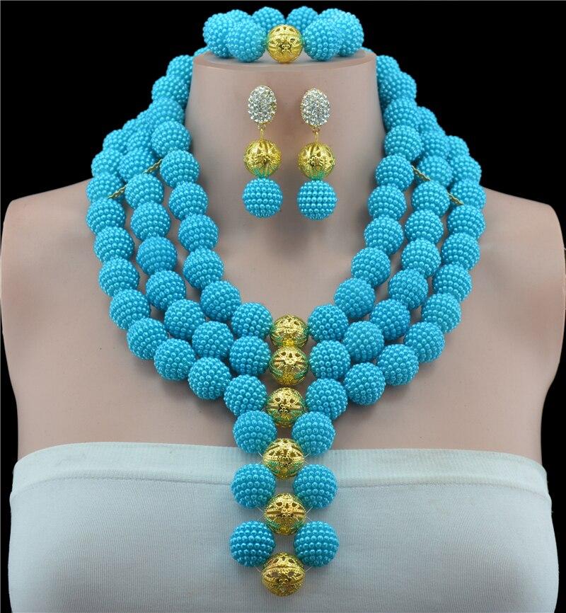 Lake Blue achats en ligne inde 10 couleur africain Nigeria collier ras du cou de mariage 2017 perles africaines ensemble de bijoux collier de mode