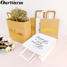 OurWarm 5pcs Welcome Bag Kraft Paper Gift Bags Baby Shower Wedding Party Favor Birthday for Gifts with Handles