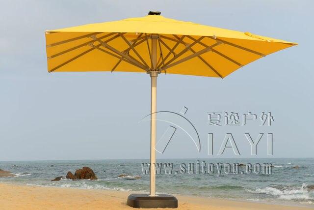 5x5 meter square solar deluxe aluminum super big outdoor patio sun umbrella king parasol sunshade furniture covers (no base)